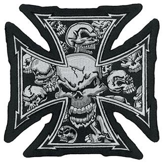Volný čas a dárky - Nášivka Gray Iron Skull Cross 30,5 x 33 cm