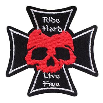 Volný čas a dárky - Nášivka Red Skull Cross malá