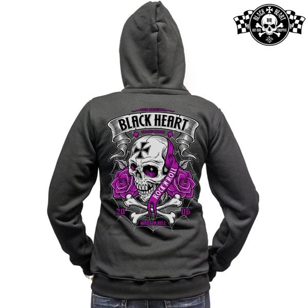 Moto oblečení - Mikina s kapucí dámská BLACK HEART Crusty Demons Zipper