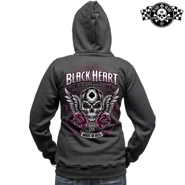 Moto oblečení - Mikina s kapucí dámská BLACK HEART Royal Zipper