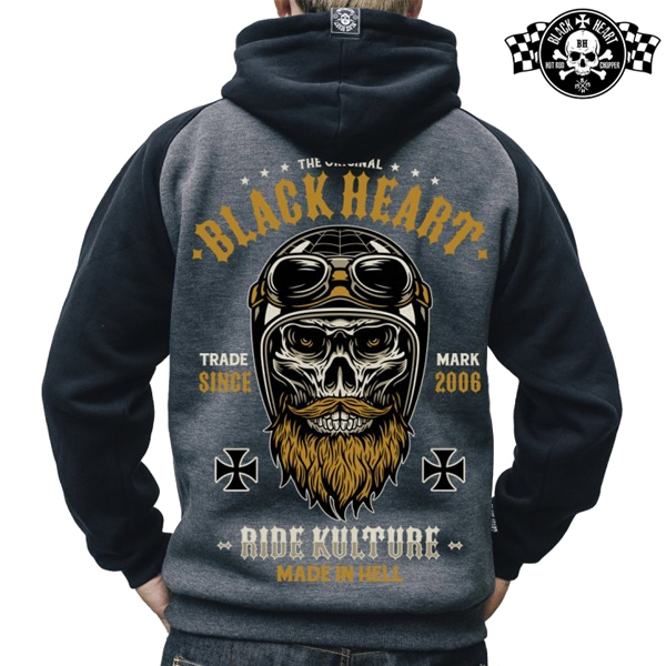 Moto oblečení - Mikina s kapucí pánská BLACK HEART Whiskery