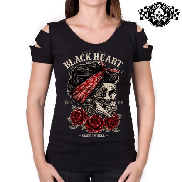 Moto oblečení - Tričko dámské BLACK HEART Destroy Pin Up Skull
