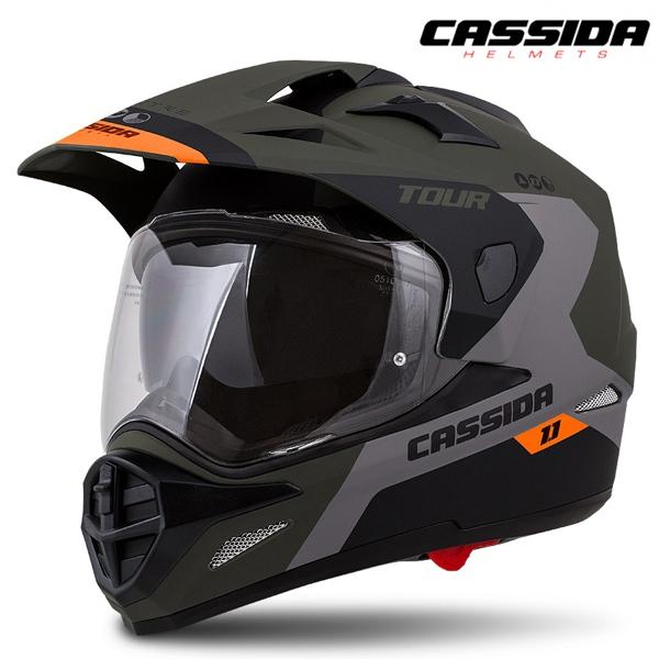 Moto oblečení - Helma CASSIDA TOUR 1.1 SPECTRE zelená/šedá/oranžová