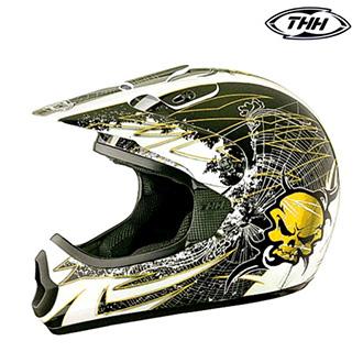Dětské moto oblečení - Helma THH TX-10 SKULL YELLOW - dětská