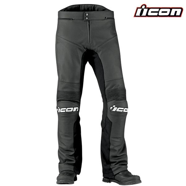 d297459ff23 Kalhoty ICON OVERLORD PRIME BLACK - sportovní kožené moto kalhoty