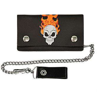 Kožená peněženka Flame Skull