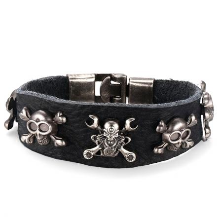 Kožený náramek - Skull Rider černý