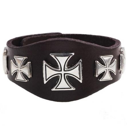Kožený náramek - Warrior Cross hnědý
