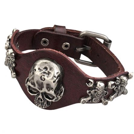 Kožený náramek - Motor Skulls hnědý