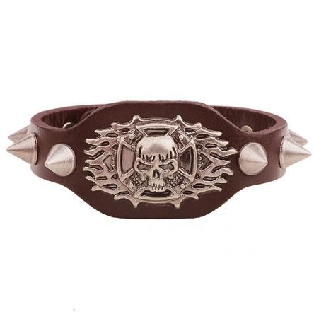 Kožený náramek - Flaming Skull hnědý