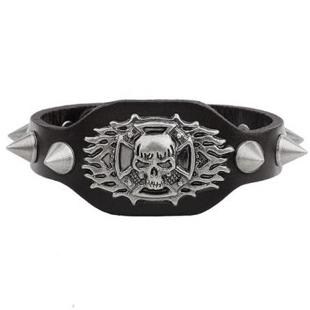 Kožený náramek - Flaming Skull černý