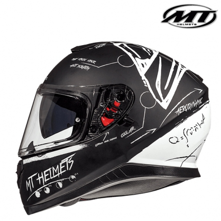 Helma MT THUNDER 3 MATT BLACK/WHITE