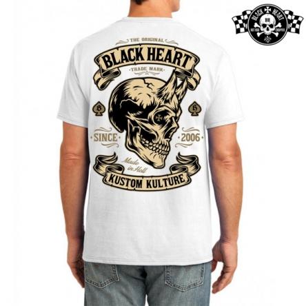 Tričko pánské BLACK HEART Devil Skull WHT