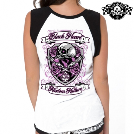Tričko dámské BLACK HEART Shield WHT-RAG