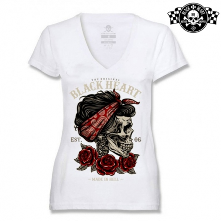 Tričko dámské BLACK HEART Pin Up Skull WHT-V