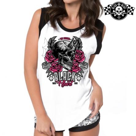 Tričko dámské BLACK HEART Devil Rose WHT-RAG