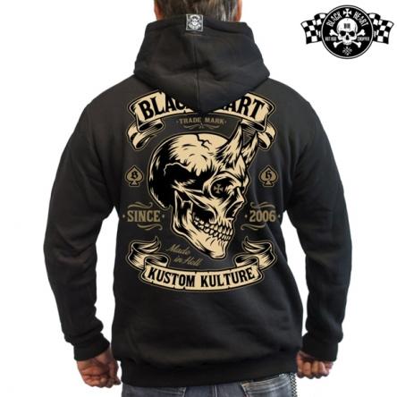 Mikina s kapucí pánská BLACK HEART Devil Skull Zipper