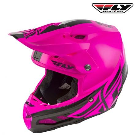 Helma FLY RACING F2 Carbon Shield (černá/růžová)
