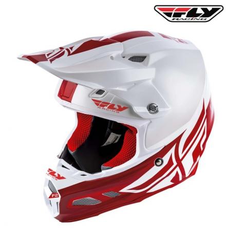 Helma FLY RACING F2 Carbon Shield (bílá/červená)