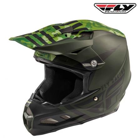 Helma FLY RACING F2 Carbon Granite (zelená/černá)