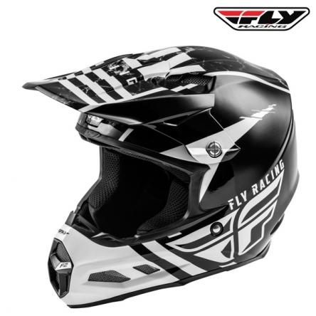 Helma FLY RACING F2 Carbon Granite (bílá/černá)