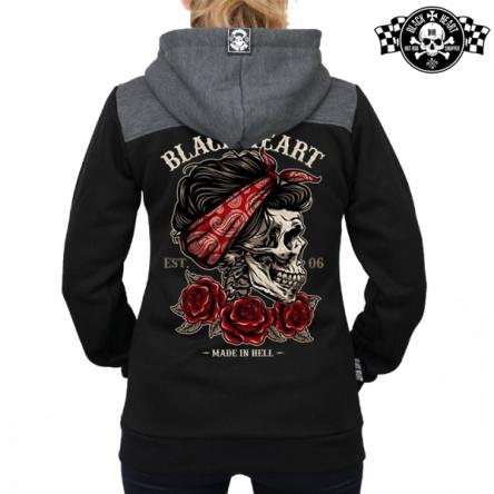 Mikina s kapucí dámská BLACK HEART Pin Up Skull Zipper