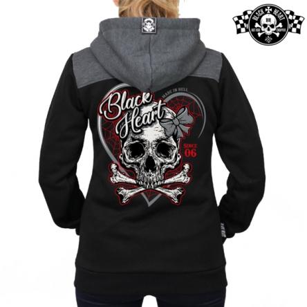 Mikina s kapucí dámská BLACK HEART Ribon Skull Zipper