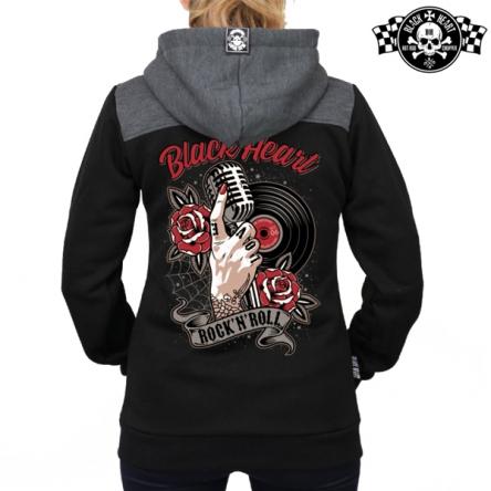 Mikina s kapucí dámská BLACK HEART Rock n Roll Zipper