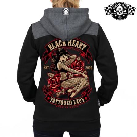 Mikina s kapucí dámská BLACK HEART Tattoo Zipper