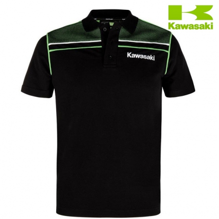 Polokošile pánská KAWASAKI SPORTS Short Sleeves black/green