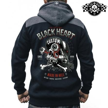 Mikina s kapucí pánská BLACK HEART Full Punk Zipper