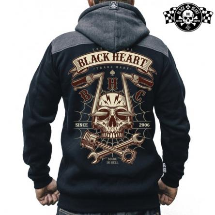 Mikina s kapucí pánská BLACK HEART Chopper Skull Zipper