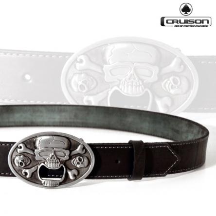 Kožený opasek CRUISON Open Skull