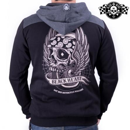 Mikina s kapucí pánská BLACK HEART Wings Skull Zipper