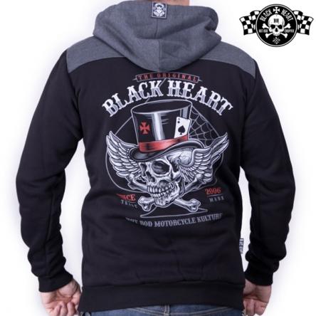 Mikina s kapucí pánská BLACK HEART Hat Skull Zipper