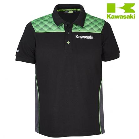 Polokošile pánská KAWASAKI SPORTS II Short Sleeves black/green